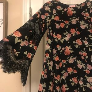re:named Dresses - Renamed Floral Dress with Lace Bell Sleeve